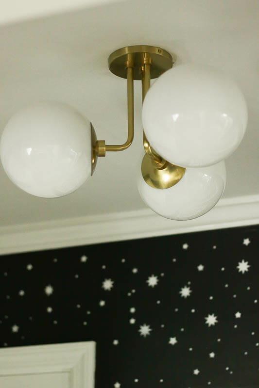 Three Light Stella semi flush midcentury modern lighting