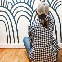 DIY Hand-Painted Black and White Rainbow Hills Mural