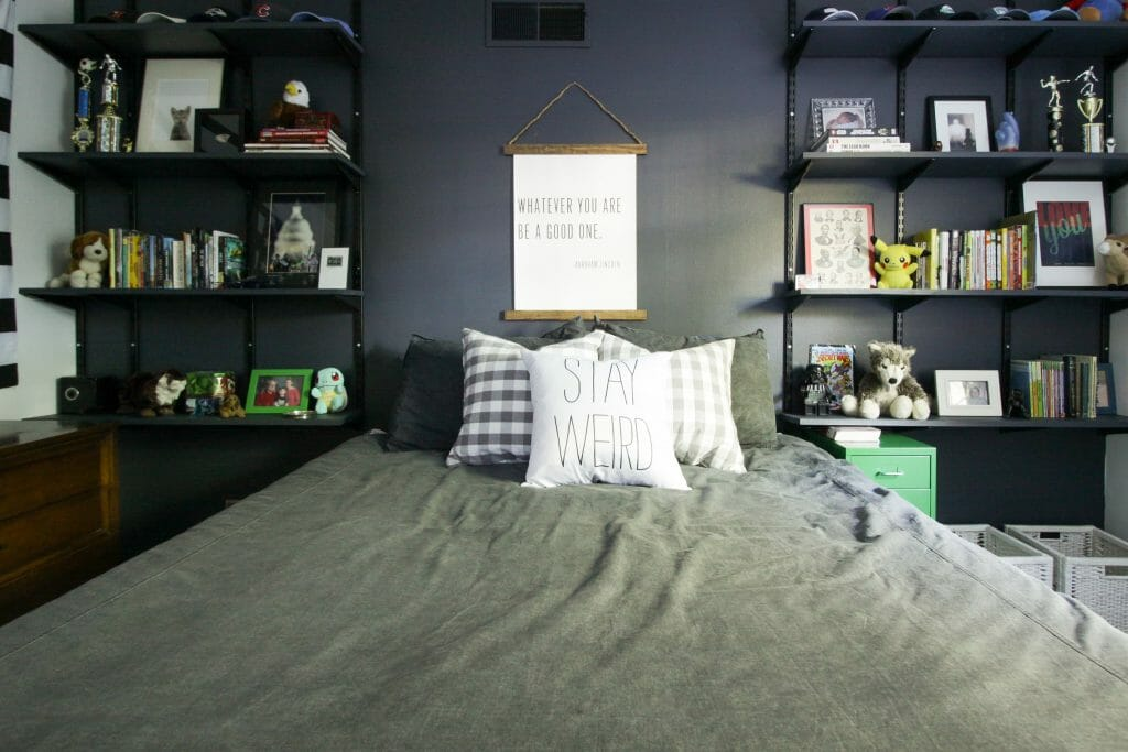 Diy Painted Track Shelving Wall Cassie Bustamante