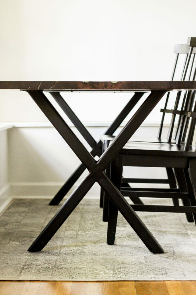 metal X base for Dining table