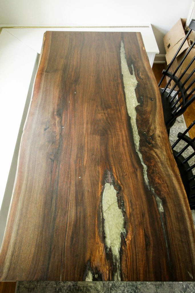 Walnut table with gold resin fill