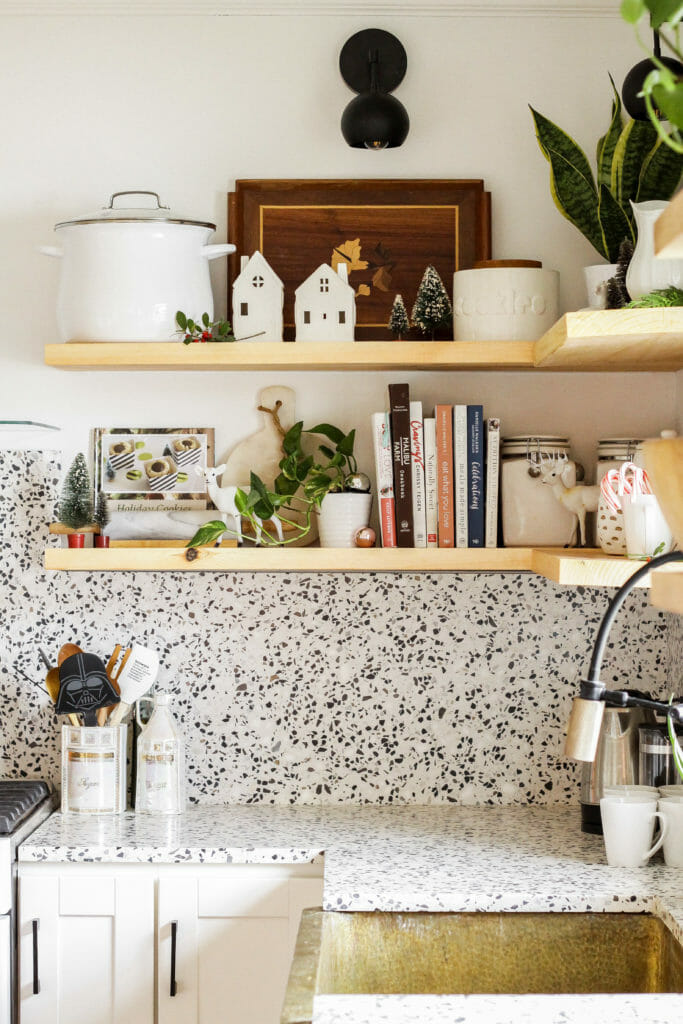 Modern Eclectic Neutral Kitchen at Christmas