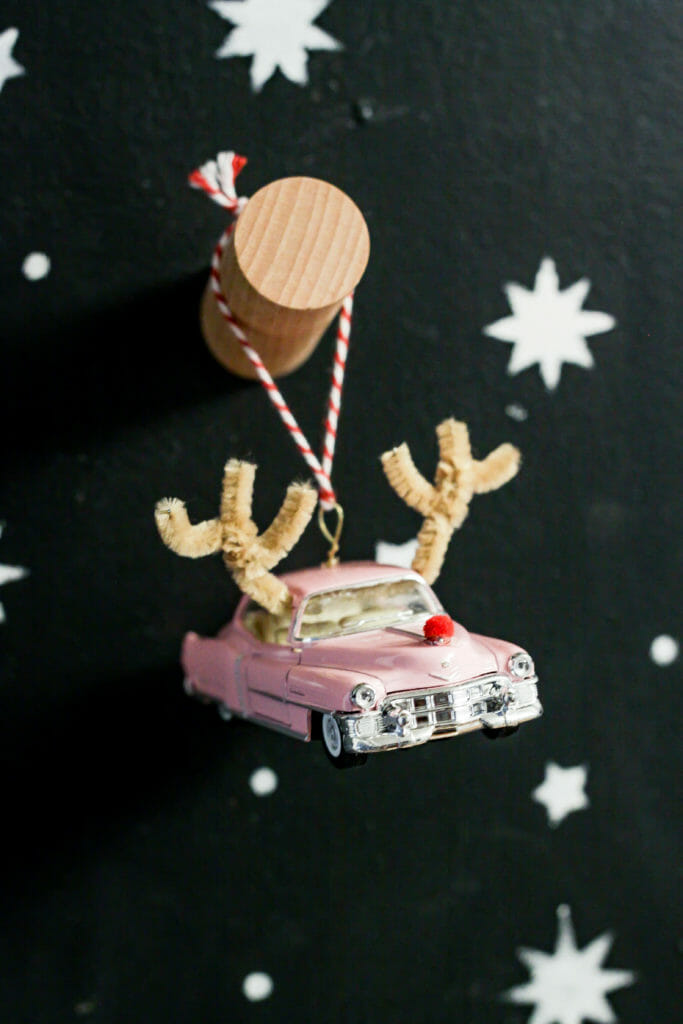 How to make a vintage car reindeer ornament