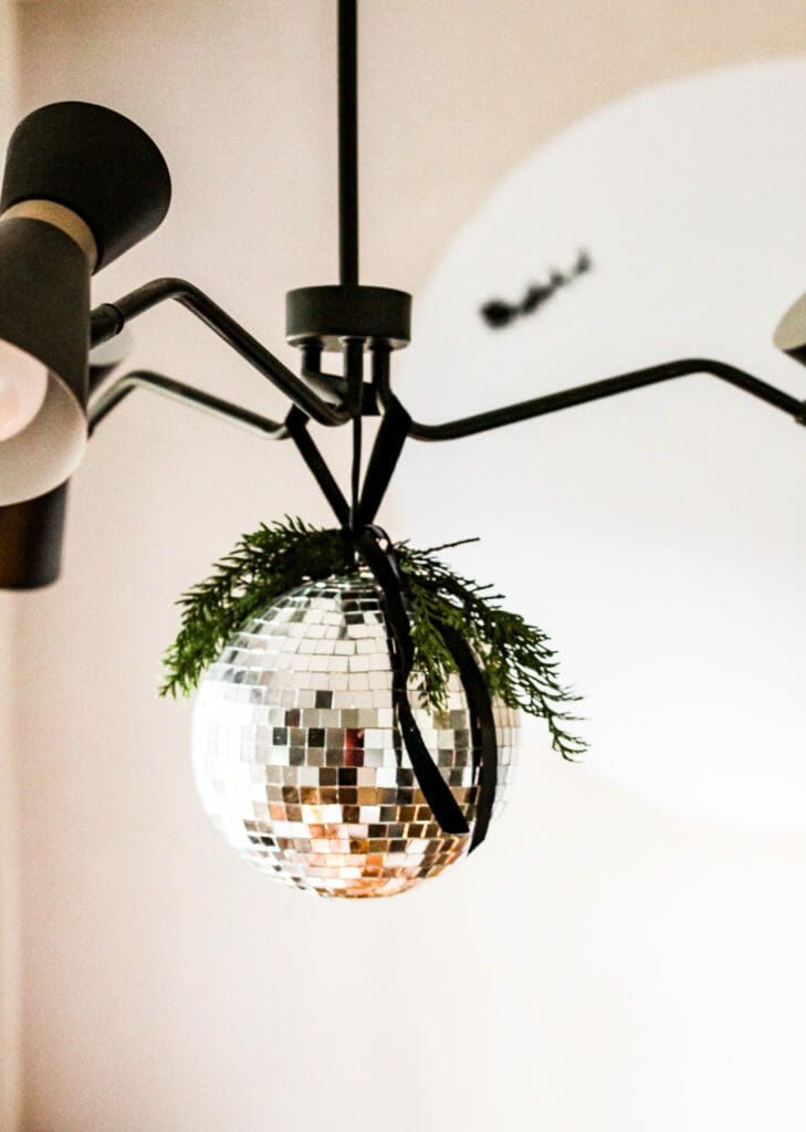 disco ball with greenery