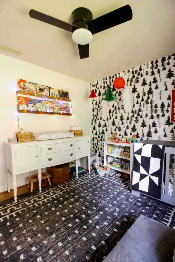 nursery with colorful christmas decor