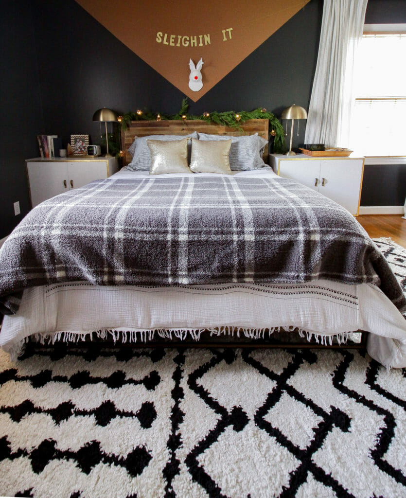 Modern Bohemian Bedroom with PLaid blanket