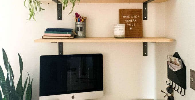 How to Create a Home Office in a Living Room: DIY Shelves & Paint Selections