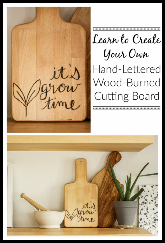How to wood burn a cutting board with hand lettering
