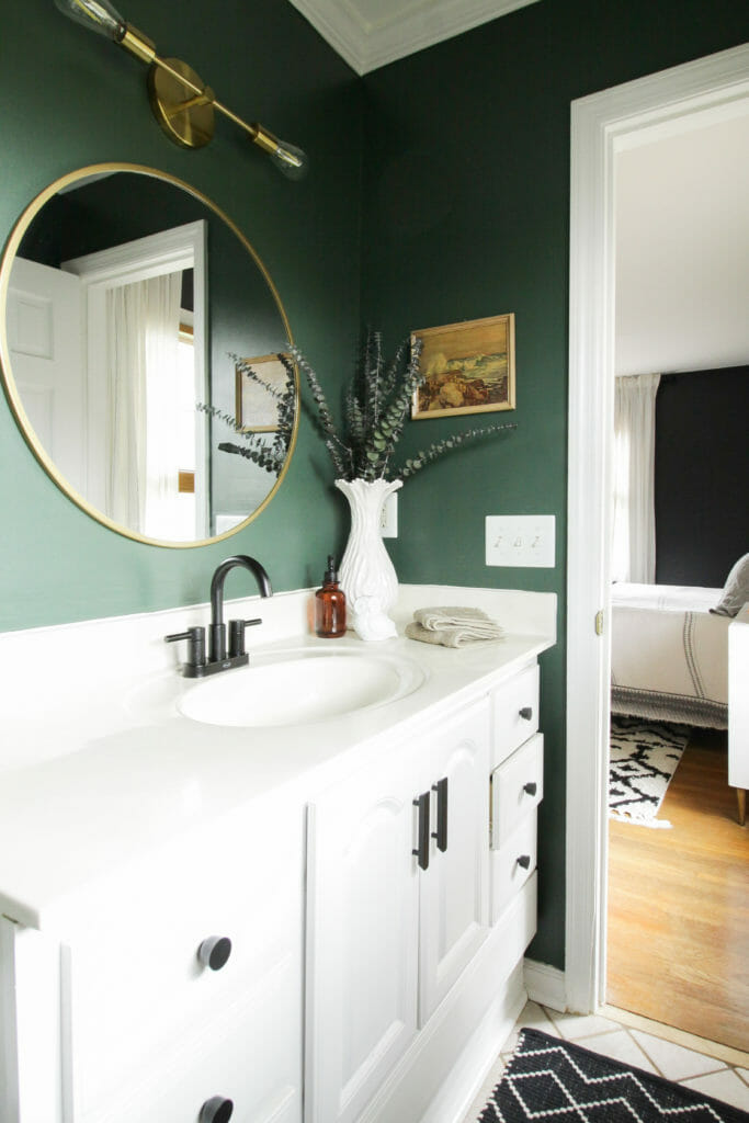 Dark Green Modern Bathroom Budget Makeover