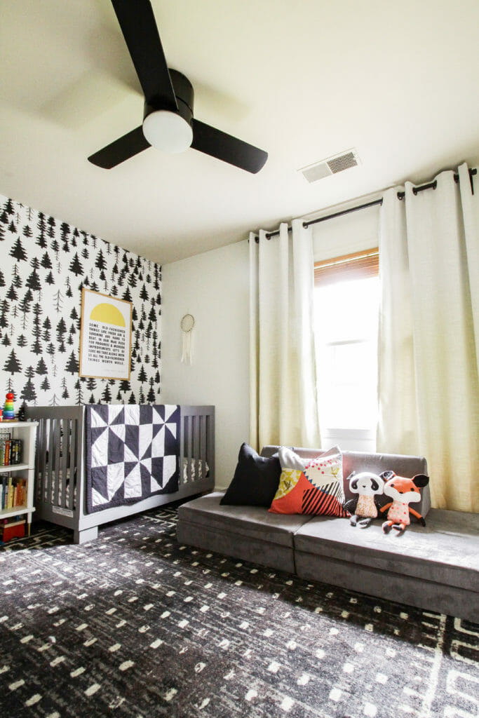 Gender Neutral Nursery in black, white, gray, and colorful accents