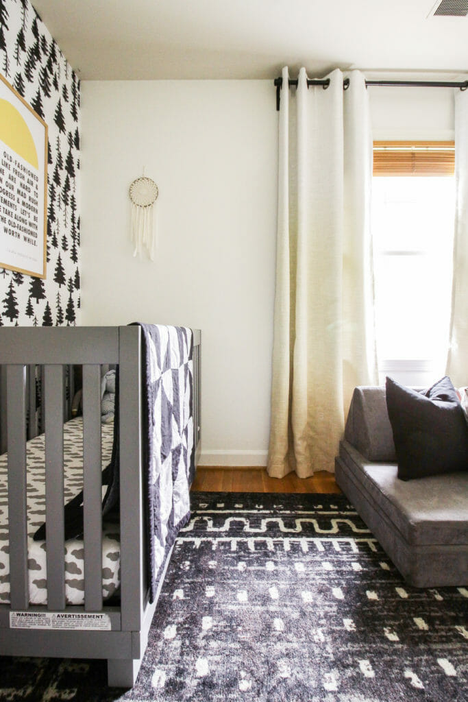 Gender Neutral nursery in black white gray and yellow