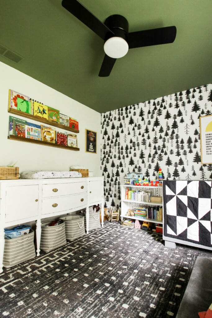 black, white, and gray nursery with green ceiling