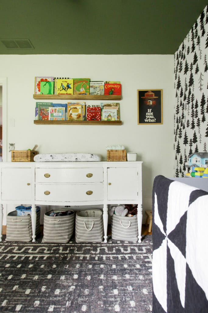 Gender Neutral Nursery with Green Ceiling