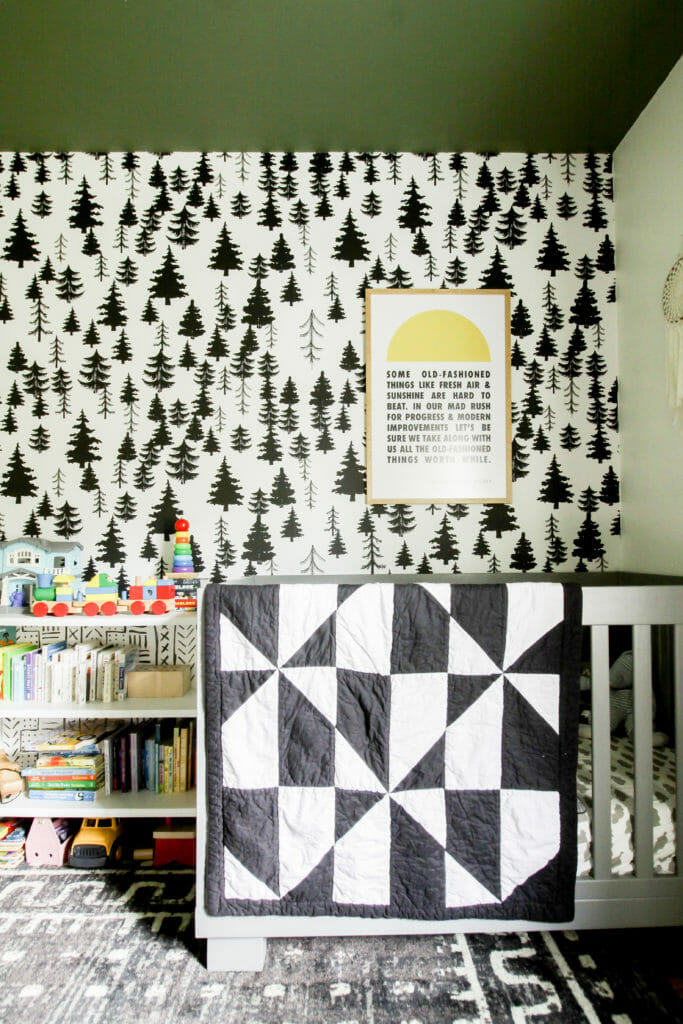 Modern Boho Nursery in Black white green
