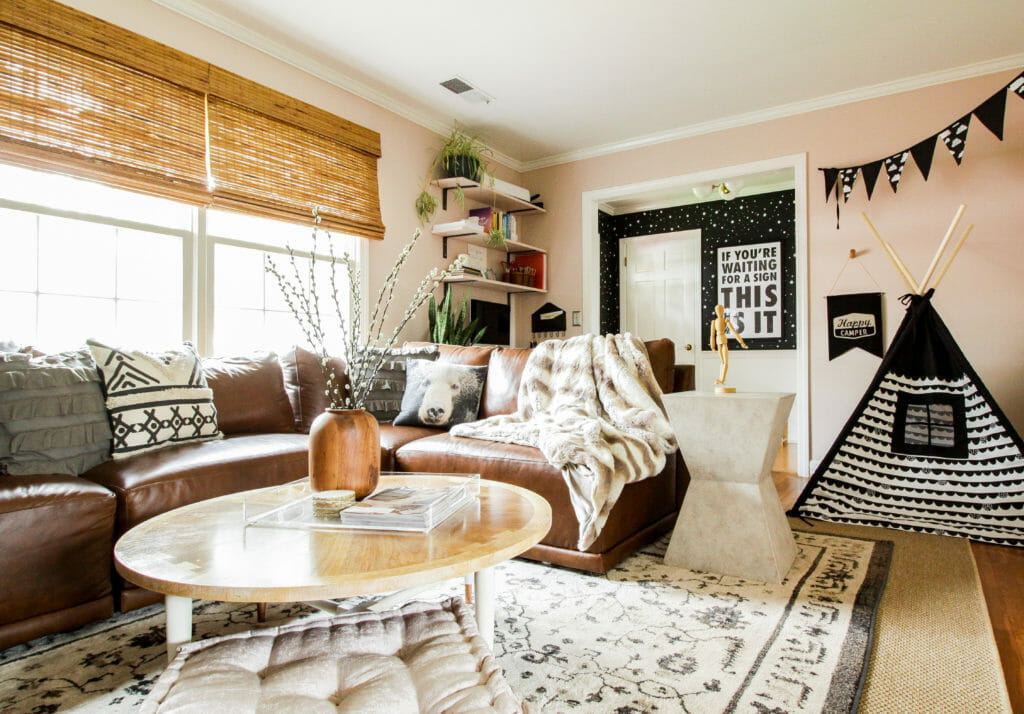 Eclectic Modern Boho Blush Living Room