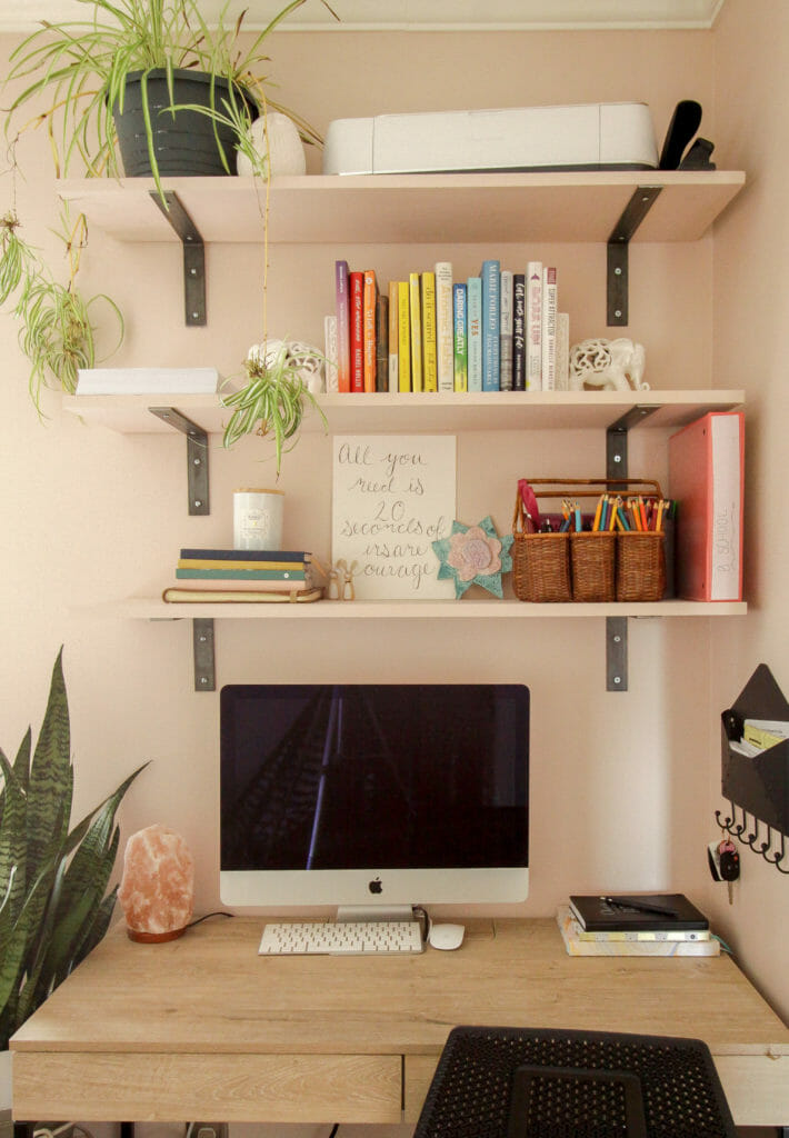 Home Office Space with Shelves