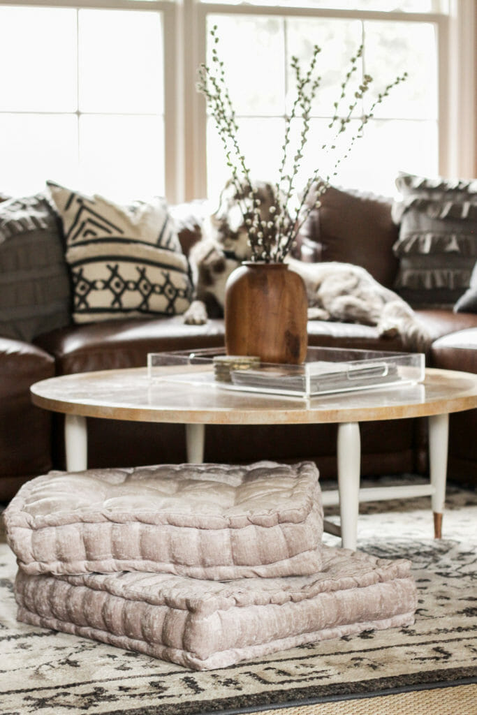cozy spring living room in blush and neutral