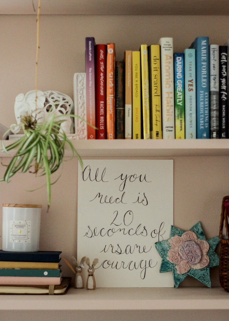 Home Office shelves styled for spring