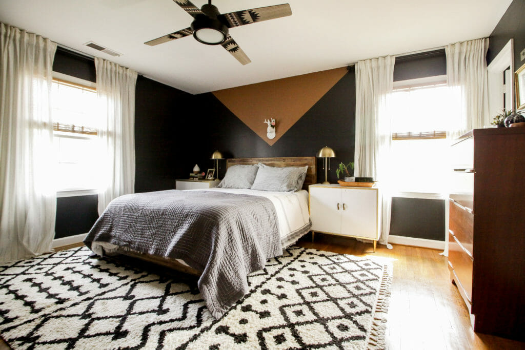 Black and Neutral Modern Boho Bedroom with Color Block