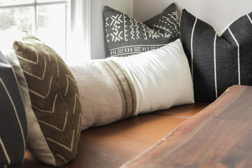 modern boho neutral handmade pillows in mud cloth