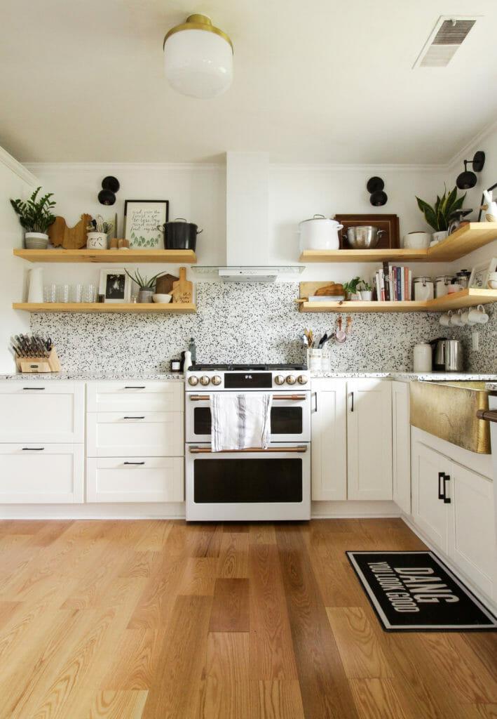 unique modern white and gold kitchen