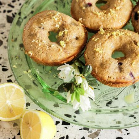 Gluten Free Lemon Glazed Blueberry Donuts