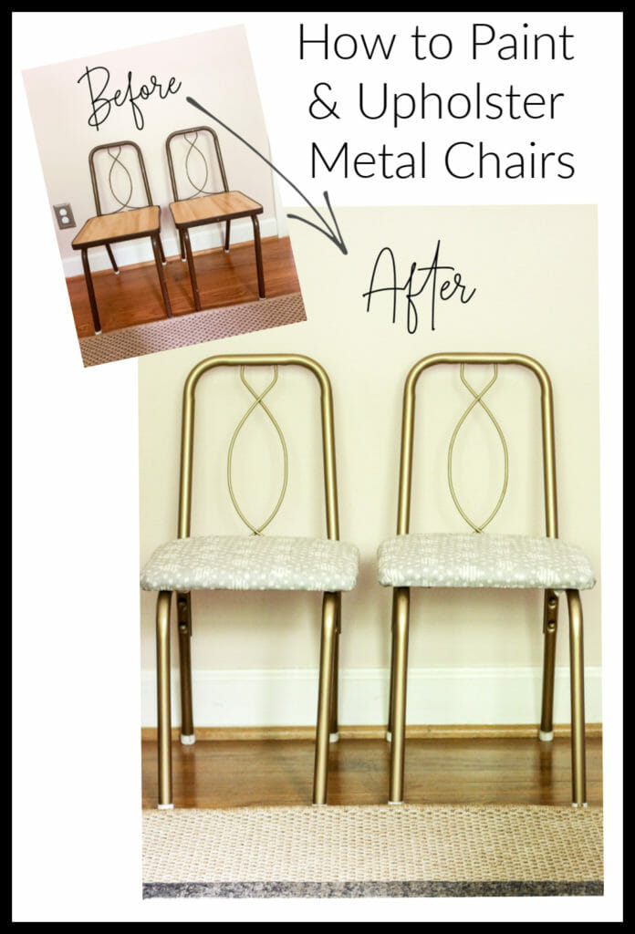 vintage metal chair makeover with paint and fabric
