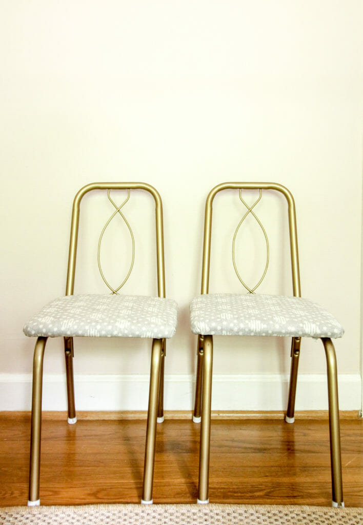 pair of vintage child's chairs given a makeover