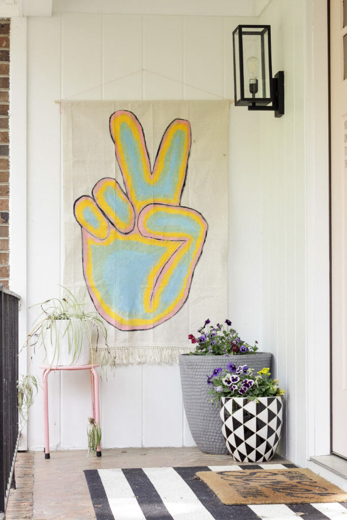 no sew colorful boho peace sign banner