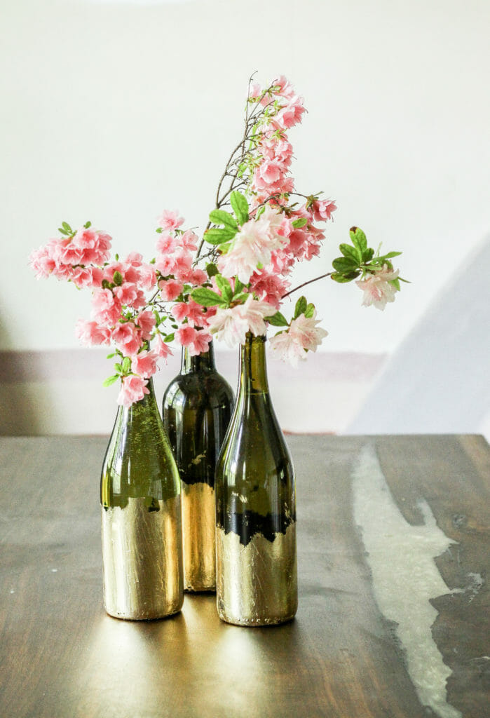 Gold Leafed Wine Bottle Vases