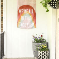 Cheerful Spring Porch with Pink Door & Accents (like vintage