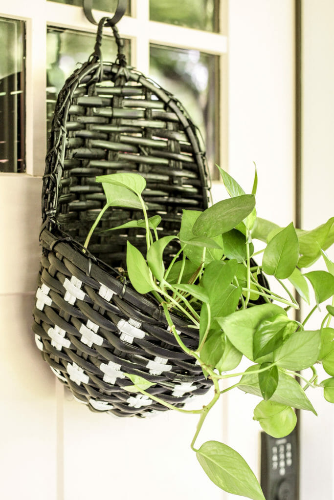 Swiss Cross Painted Wall Basket in black and white
