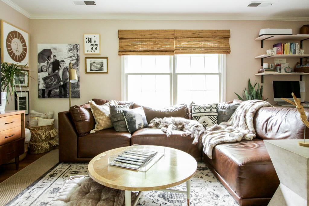 eclectic modern boho pink living room