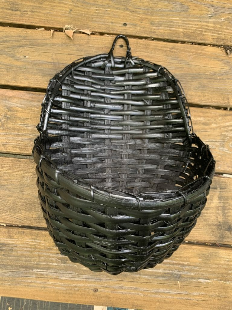 solid black basket after spray paint