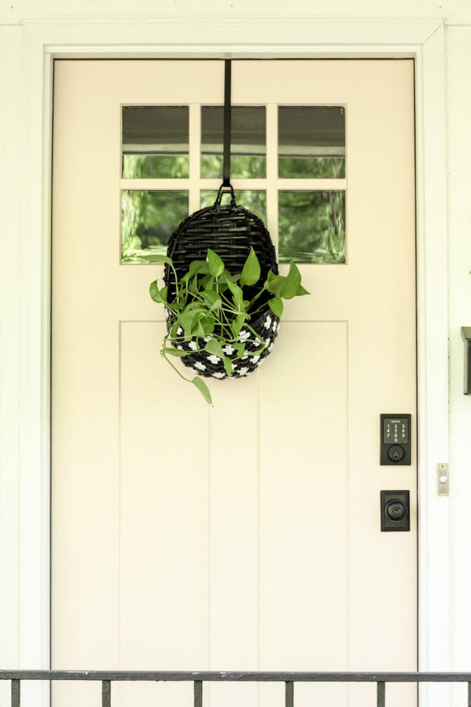 Black and white basket with plant on pink door