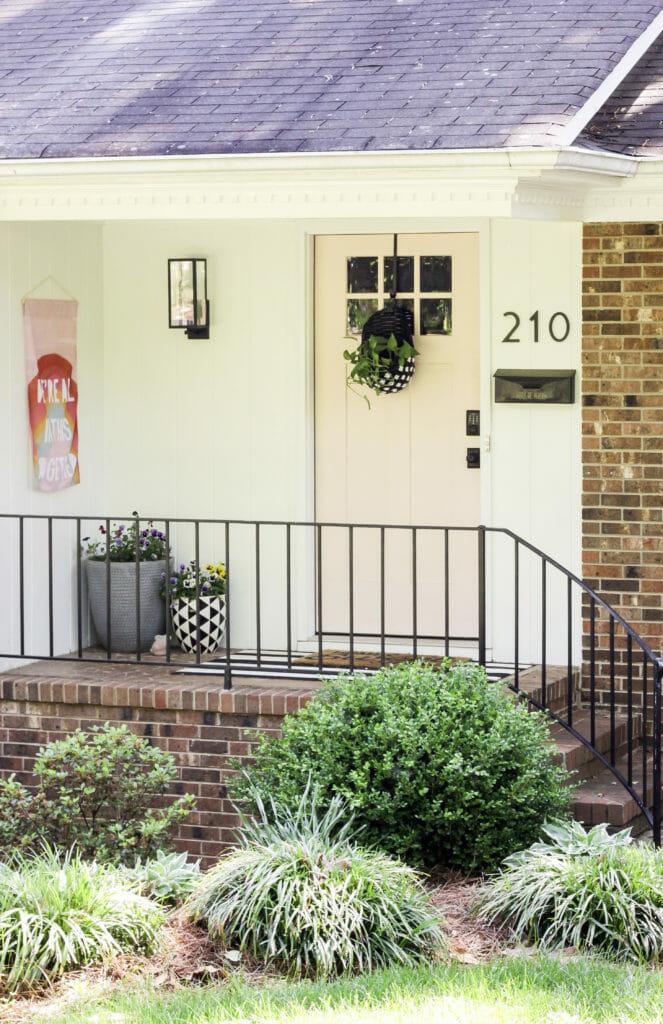 Cheery Spring Porch with Pink Door