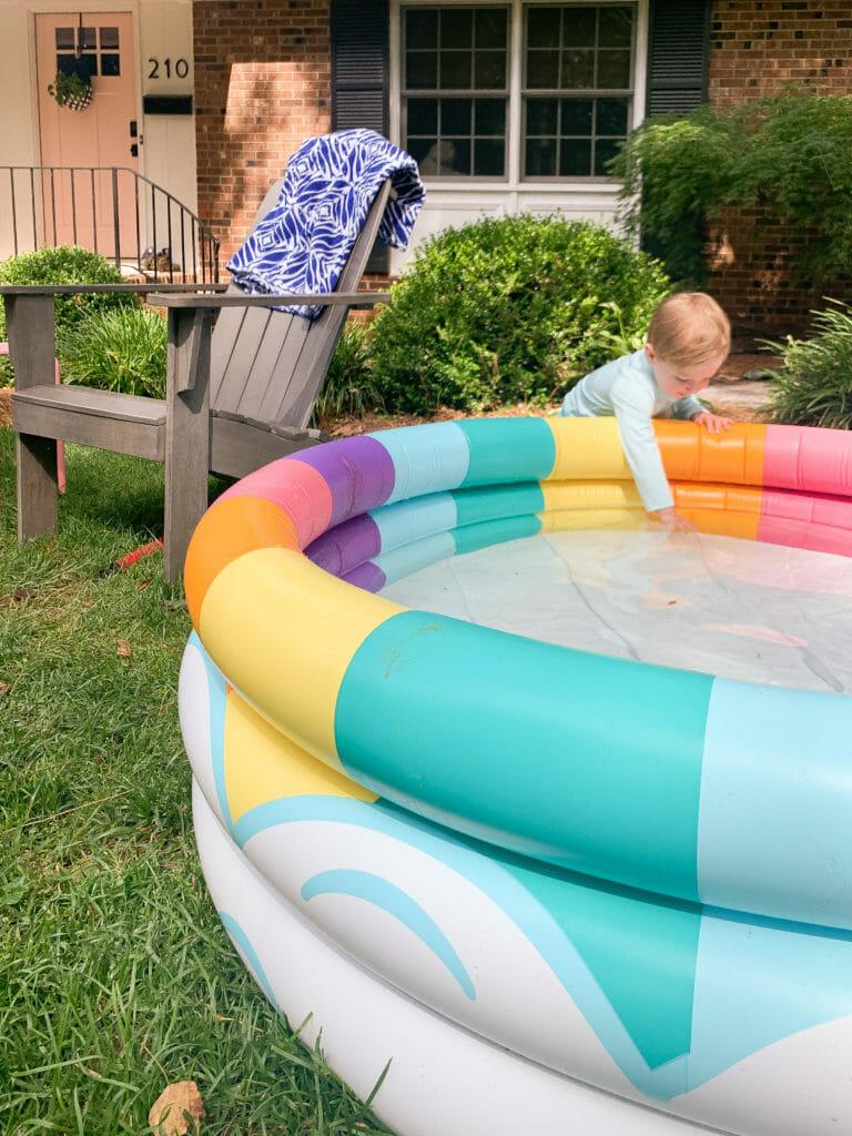 inflatable rainbow baby pool