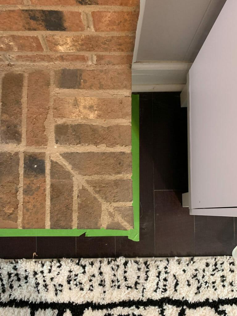 Tape off fireplace floor