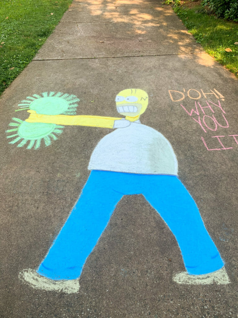 Homer Simpson chalk drawing