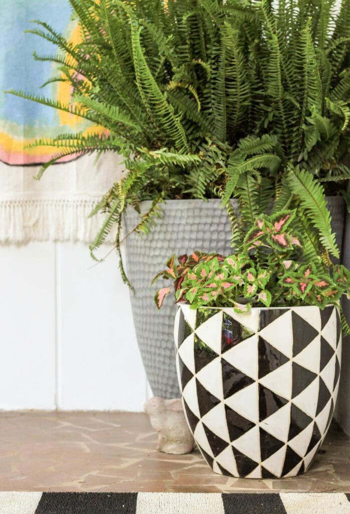 Summer porch planters in black white gray
