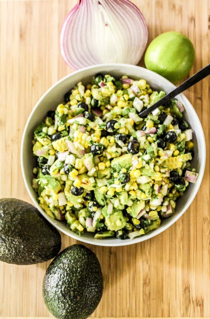 Easy Corn Avocado Blueberry Salad
