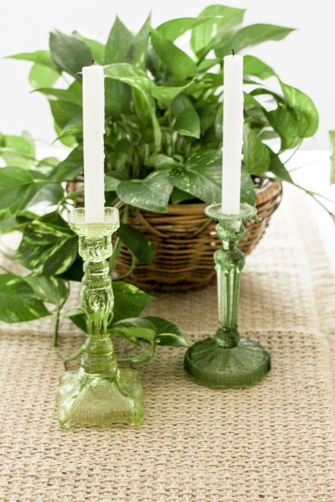green glass candlesticks