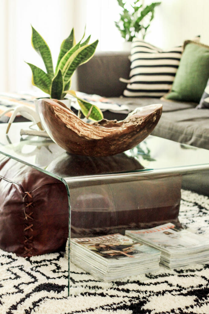 Coffee table styled with natural things