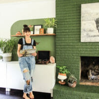 How to Patch & Paint a Brick Fireplace: Our Green Fireplace