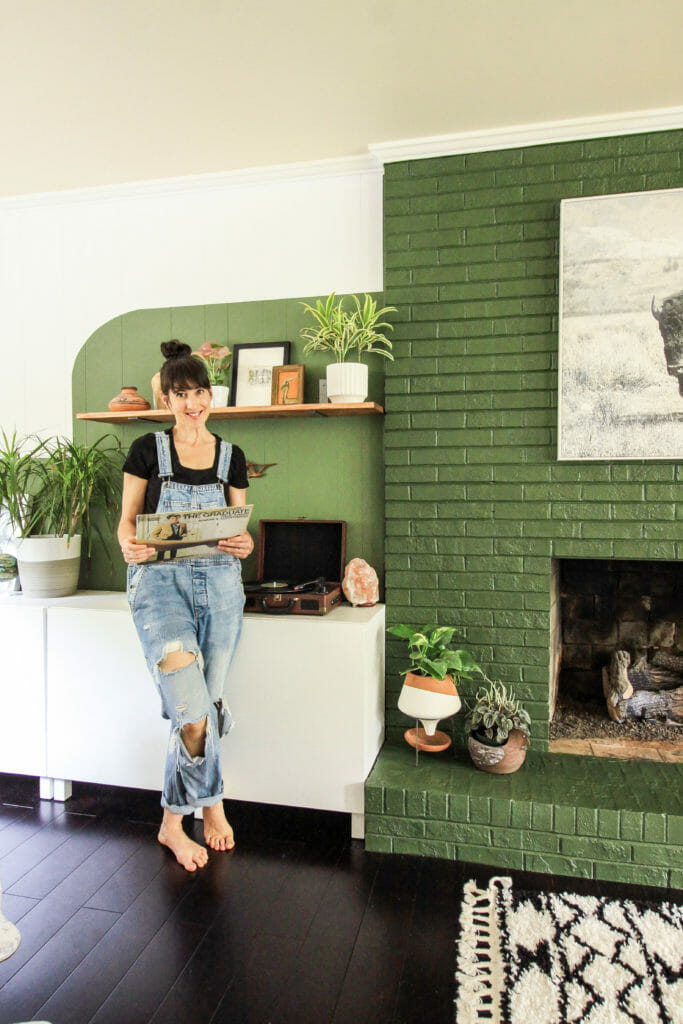 DIY Painted Brick Fireplace