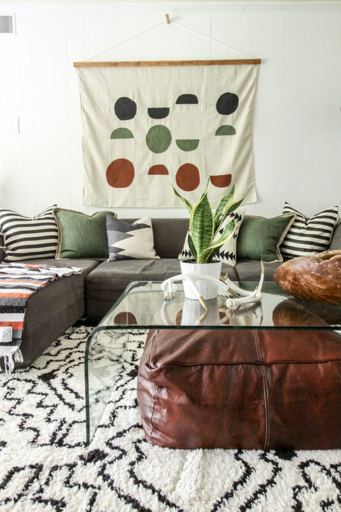 Modern Boho Wall Hanging over sofa