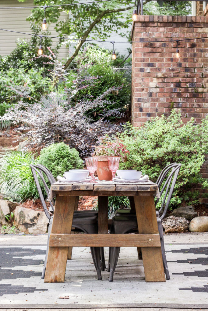 Outdoor modern boho dining space