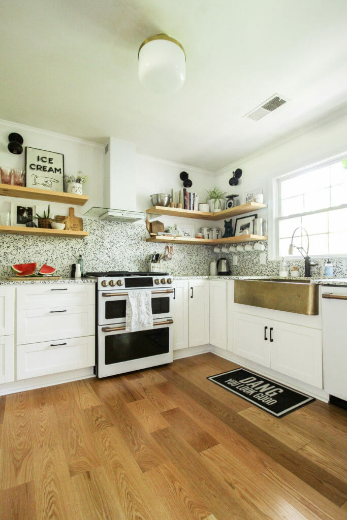 Modern White and Wood and Gold Kitchen