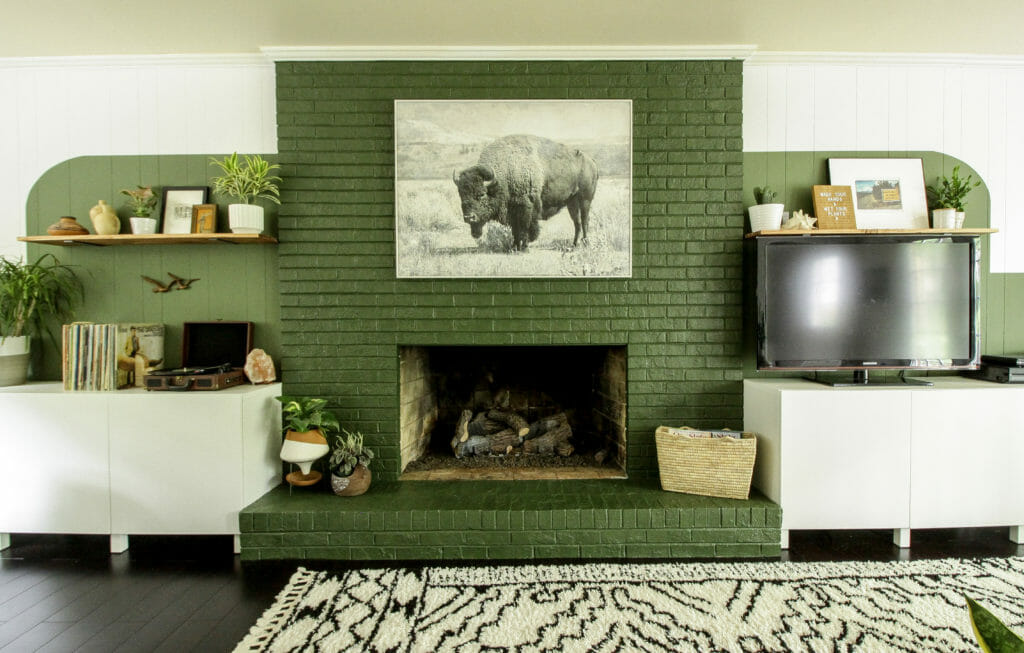 color block next to fireplace
