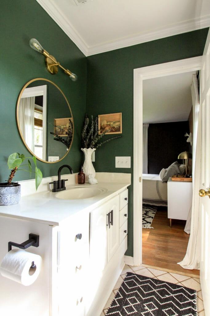 dark green modern bathroom